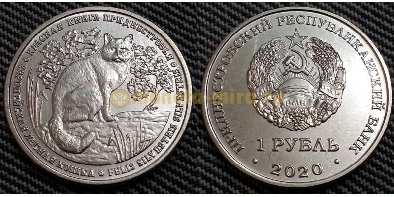 1 рубль ПМР 2020 г. Европейская лесная кошка, серия красная книга