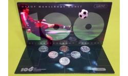 Официальный набор из 5 монет 1 рубль 1997 г. 100 лет российскому футболу, с жетоном