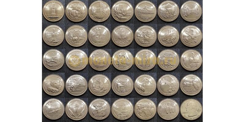 Набор из 54 монет США 25 центов 2010-2020 гг.. Национальные парки, двор P-D
