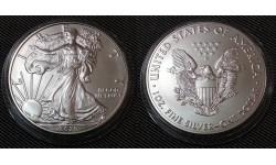 1 доллар США 2020 г. Шагающая свобода, в капсуле - серебро 999 пр.