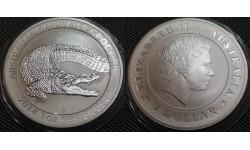 1 доллар Австралии 2014 г. Гребнистый крокодил, серебро 999 пр.