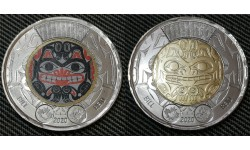 Набор из 2 монет 2 доллара Канады 2020 г. Билл Рид
