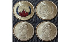 Набор из 2 монет Канады 1 доллар 2020 г. 75 лет ООН