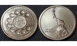 1 доллар инновации США 2020 г. Первый дисковый телефон, штат Массачусетс