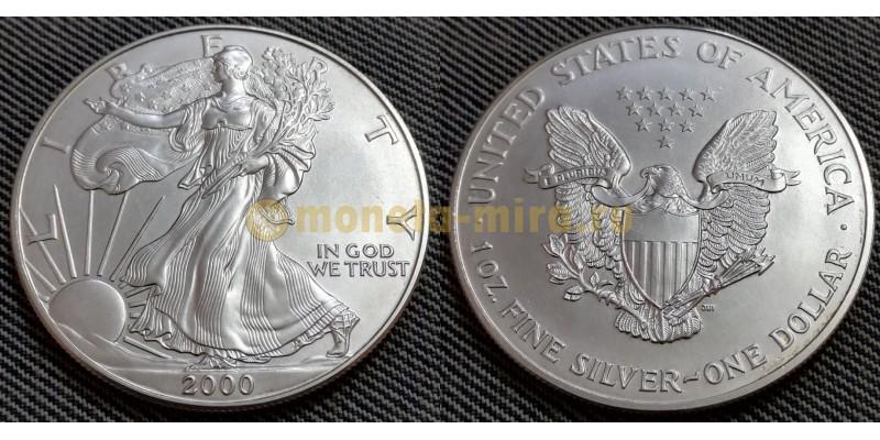 1 доллар США 2000 г. Шагающая свобода, в капсуле - серебро 999 пр.