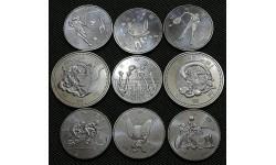 Набор из 9 монет Японии 100 и 500 йен 2020-2021 гг. Олимпиада в Токио 2020, 4-й выпуск