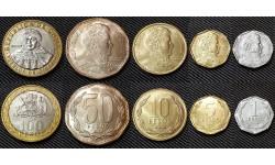 Набор из 5 монет Чили 2006 г. 1,5,10,50,100 песо