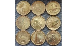 Набор из 9 монет Австралии 1 доллар 2009 г. Освоение космоса