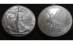 1 доллар США 2021 г. Шагающая свобода, новый вид орла, в капсуле - серебро 999 пр.