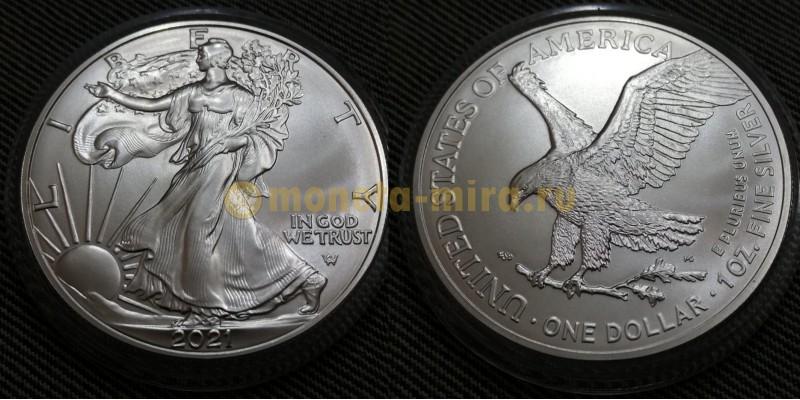 1 доллар США 2021 г. Шагающая свобода, новый вид орла, в капсуле