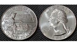 25 центов США 2021 г. Джордж Вашингтон - Переправа через реку Делавэр