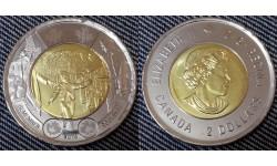 2 доллара Канады 2014 г. 75 лет с начала Второй Мировой войны