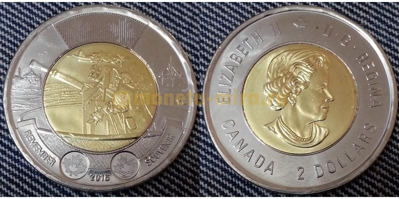 2 доллара Канады 2016 г. биметалл - 75 лет Битве за Атлантику