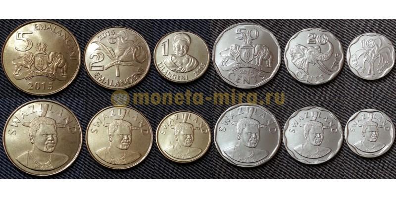 Набо из 6 монет Свазиленда 2015 г. 10,20,50 центов, 1 лилангени, 2 и 5 эмалангени