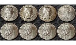 Набор из 4 монет 1 доллар США 1979-1999 гг.. Сьюзен Энтони, Сакагавея