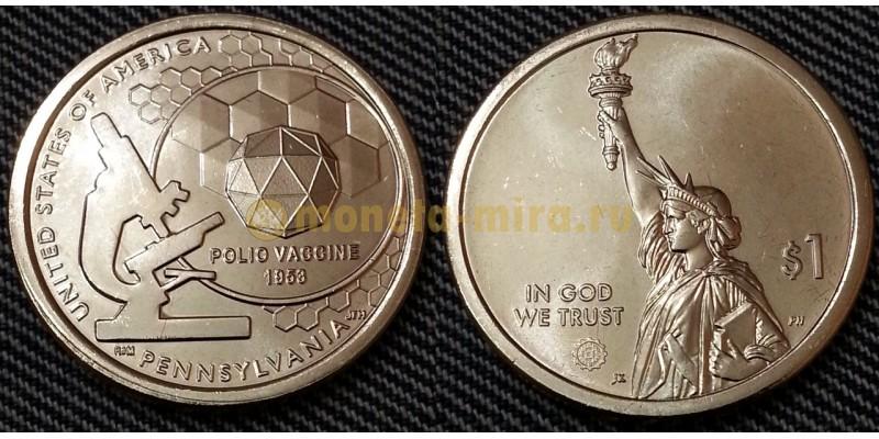 1 доллар инновации США 2019 г.  Вакцина против полиомиелита, штат Пенсильвания
