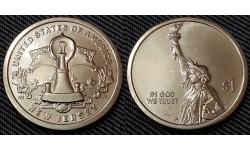1 доллар инновации США 2019 г.  лампочка Эдисона, штат Нью Джерси