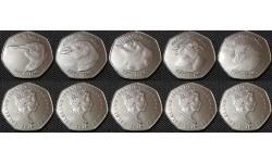 Набор из 5 монет Фолклендских островов 2018 г. Пингвины