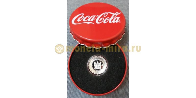 1 доллар Фиджи 2018 г.  в виде крышки Coca-Cola, серебро 999 пр.