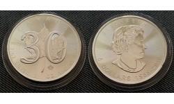 5 долларов Канады 2018 г. 30 лет кленовому листу, серебро 999 пр.