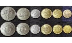 Набор из 6 монет Сейшел 2004-2012 гг. 1,5,10,25 центов, 1 и 5 рупий