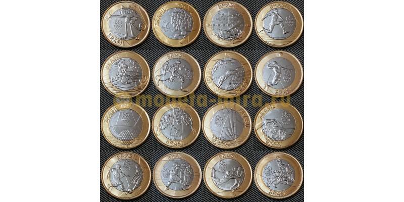 Набор из 16 монет Бразилии 2016 г. 1 реал - Олимпиада в Рио-де-Жанейро