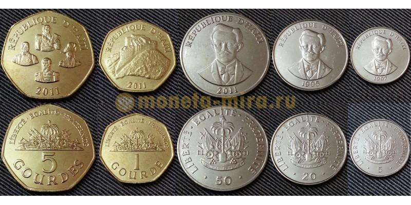 Набор из 5 монет Гаити 1997-2011 гг. 1,5 гурдов и 5,20,50 сантимов
