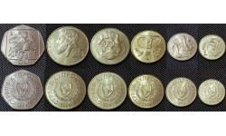 Набор из 6 монет Кипра 2004 г. 1,2,5,10,20,50 центов