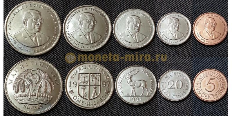 Набор из 5 монет Маврикия 1992-1999 гг.. 5,20 центов и 1/2,1,5 рупий