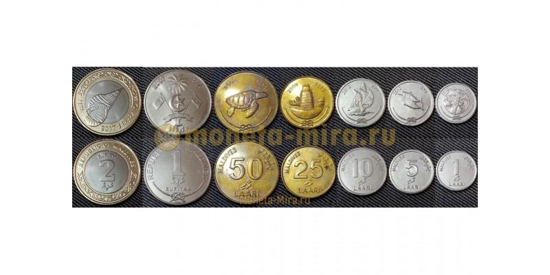 Набор из 7 монет Мальдивы 2007-2012 гг.. 1,5,10,25,50 лари и 1,2 руфий