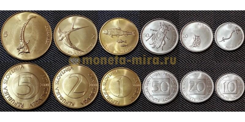 Набор из 6 монет Словении 1992-2000 гг.. 10,20,50 стотинов и 1,2,5 толаров