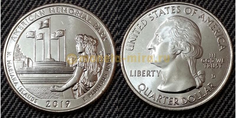 25 центов США 2019 г. Американский мемориальный парк, №47