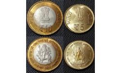 Набор из 2 монет Индии 2012 г. Пещерный храм Вайшно-деви
