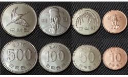 Набор из 4 монет Южной Кореи 2015-2016 гг.. 10,50,100,500 вон