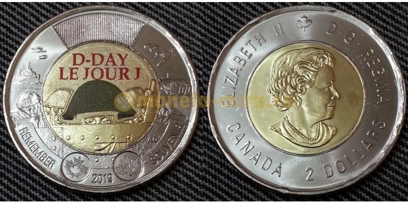 2 доллара Канады 2019 г. 75 лет высадке союзников в Нормандии - цветная