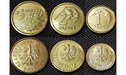 Набор из 3 монет Польши 2012-2014 гг.. 1,2,5 грошей