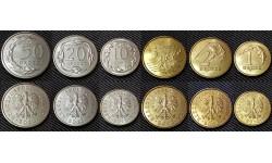 Набор из 6 монет Польши 2012 г. 1,2,5,10,20,50 грошей