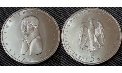 5 марок ФРГ 1977 г. Генрих фон Клейст - серебро 625 пр.