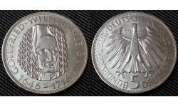5 марок ФРГ 1966 г. Готфрид Вильгельм Лейбниц - серебро 625 пр.