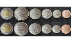 Набор из 6 монет Панамы 2017-2019 гг.. 1,1/2,1/4,1/10 бальбоа и 1,5 сентимо