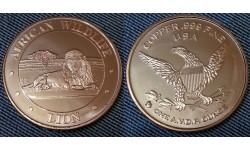 Монетовидный жетон США серия Африканская фауна, лев