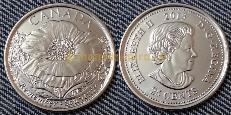 25 центов Канады 2015 г. - 100 лет стихотворению: на полях Фландрии (обычная)