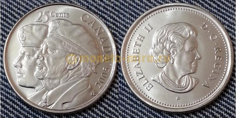 25 центов Канады 2005 г. День ветеранов