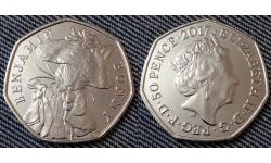 50 пенсов Великобритании 2017 г. серия: 150 летие Беатрис Поттер - Бенджамин Банни