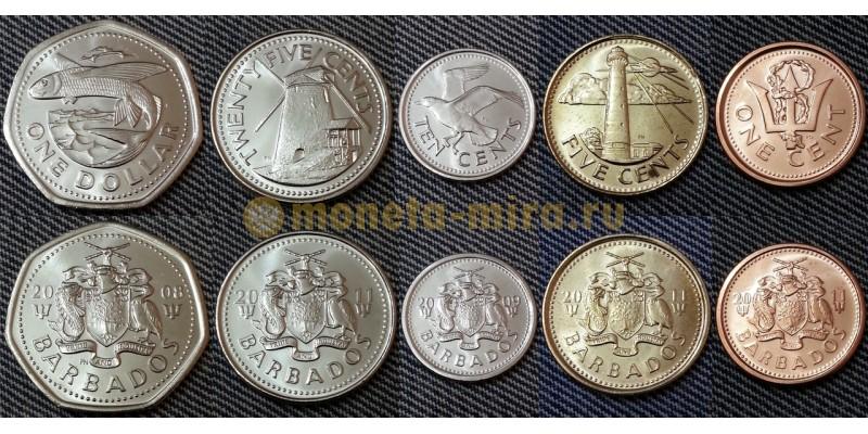 Набор из 5 монет Барбадоса 2008-2011 гг. 1,5,10,25 центов и 1 доллар