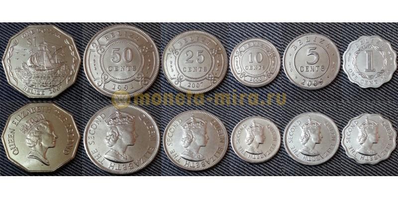 Набор из 6 монет Белиза 1991-2010 гг. 1,5,10,25,50 центов и 1 доллар