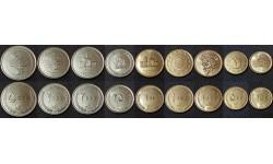 Набор из 9 монет Ирана 2009-2012 гг. 50,100,250,500,1000,2000,5000 риалов
