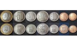 Набор из 7 монет Венесуэлы 2007-2009 гг.. 1,5,10,12,25,50 сентимо и 1 боливар