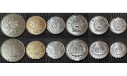 Набор из 6 монет Китая 1987-2012 гг. 1,2,5 фен, 1,5 джао и 1 юань