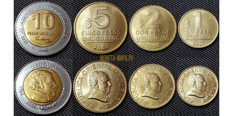 Набор из 4 монет Уругвая 1998-2008 гг.. 1,2,5,10 песо